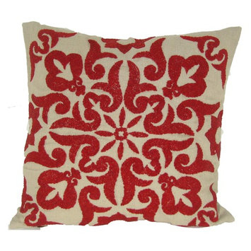 Red Damascus Cotton Linen - 20 x 20 in. Pillow
