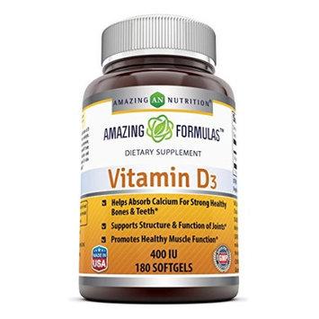 Amazing Formulas Vitamin D3 400IU 180 softgels