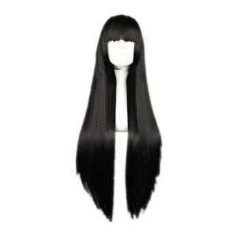 COSPLAZA Cosplay Wig Long Straight Flat Bang Synthetic Wig Anime Black Hair