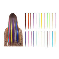 Le Fu Li 24PCS Colored Hairpieces 22Inch (55CM) Straight Clip in Hair Extensions Fashion Hairpieces Party Highlight Multiple Colors (24pcs Full Color Set)