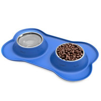 Trademark Global Llc Stainless Steel Pet Bowls for Dogs and Cats- Set of 2 Dishes for Food and Water in Non Slip No Mess Silicone Tray- Bowls 12oz Each by PETMAKER