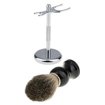 MagiDeal 2 in 1 Hair Shaving Brush Stainless Steel Shave Stand Holder Rack Salon Barber Tool Men's Travel Set