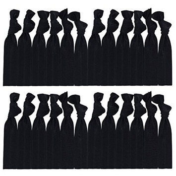 Cyndibands Black Hair Ties (More Colors Available) No-Snag Knotted Ponytail Holders/Bracelets - 25 Count …