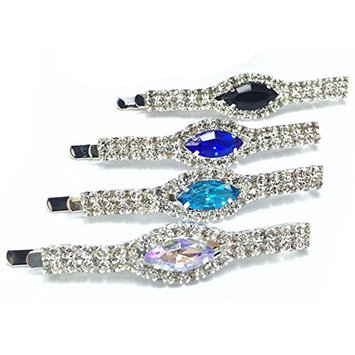 4 PCS Exquisite Rhinestone Hair Accessories Fashion Clip Headdress Crystal Hair Clip for Women Lady Girls