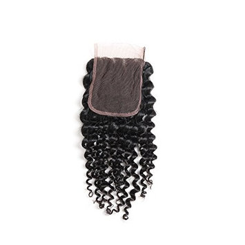 ISEE Hair 4x4 Free Part Lace Closure Brazilian Kinky Curly Virgin Human Hair Lace Closure (14 inches)