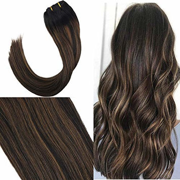 Youngsee 22inch Ombre Balayage Hair Extensions Clip in Remy Human Hair Extensions Natural Black Fading to Medium Brown Mix Off Black Clip in Hair Extensions Salon Style 7Pcs/120G Per Set []
