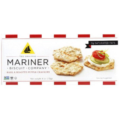 The Original Mariner Biscuit Company Basil & Roasted Pepper Crackers, 4 oz, (Pack of 12)