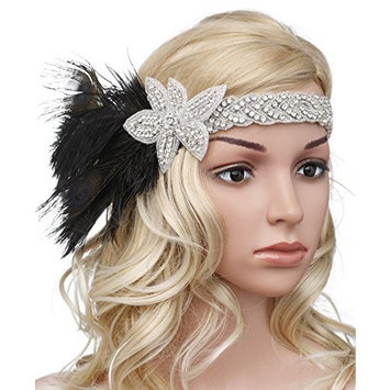 BABEYOND Vintage 1920s Flapper Headband Roaring 20s Great Gatsby Headpiece with Feather Crystal 1920s Flapper Gatsby Hair Accessories