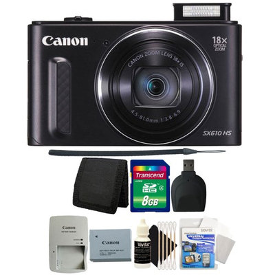 Canon PowerShot SX610 HS 20.2MP 18x Optical Zoom Wifi Digital Camera (BLACK) with 8GB Top Accessory Bundle
