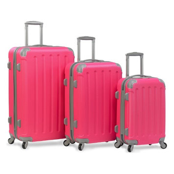 Dejuno Departures 3-Piece Hardside Spinner Combination Lock Luggage Set - Pink