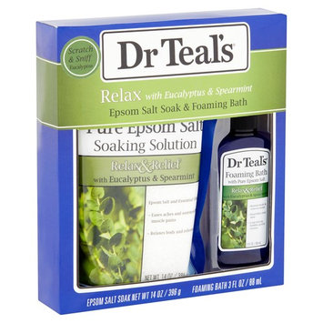 Dr Teal's Relax with Eucalyptus & Spearmint Epsom Salt Soak & Foaming Bath, 2 piece