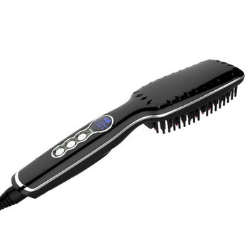 Enhanced Hair Straightener Brush 2-in-1 Ionic Straightening Brush with Anti-Scald Feature, Auto Temperature Lock and Auto-off Function (Black)