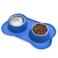 Stainless Steel Pet Bowls for Dogs and Cats- Set of 2 Dishes for Food and Water in Non Slip No Mess Silicone Tray- Bowls 24oz Each by PETMAKER