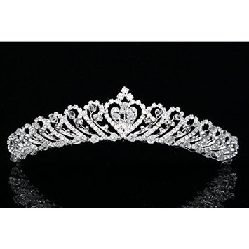 Handmade Bridal Heart Rhinestones Crystal Wedding Tiara Crown T732
