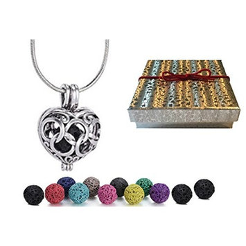 Premium AyaZen Heart Aromatherapy Necklace Diffuser With Lava Stones Aromatherapy Locket Pendant Gift Set Chain & Multi-Colored Beads