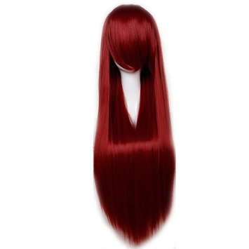 Heat Resistant Synthetic Wig Japanese Kanekalon Fiber Full Wig with Bangs Long Straight 24'' / 60cm Wig for Women Girls Lady Fashion and Beauty (32''(80cm)-Straight, Wine red)