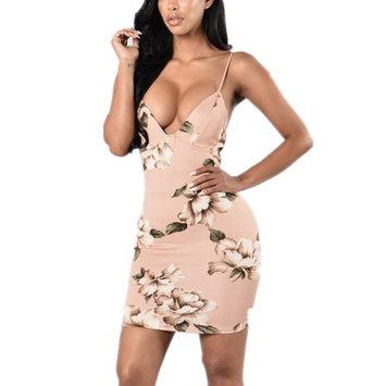 Deep V-neck Women Slim Spaghetti Strap Printed Skinny Bandage Dress