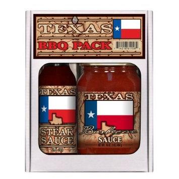 2 Pack TEXAS FLAG BBQ PACK: 5 oz Steak Sauce + 16 oz BBQ 2pk
