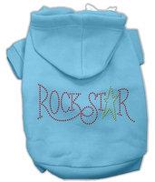 Mirage Pet Products 5473 XXXLBBL Rock Star Rhinestone Hoodies Baby Blue XXXL 20