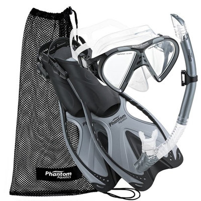 Phantom Aquatics Speed Sport Mask Fin Snorkel Set Adult, Silver - Large/X-Large/Size 9 to 13