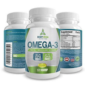 Fish Oil Omega 3 Capsules: Best Triple Strength Supplements with EPA & DHA Oils - Pure Healthy & Burpless Fish Oil Supplements with Natural Fatty Acids - 120 Count 1400 Miligram Softgel Pills