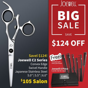 Joewell C2 Swivel Shear & Free 6 Piece Carbon Comb Set and Case (5.5