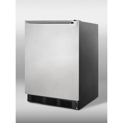 SUMMIT ADA compliant freestanding refrigerator with stainless steel door, black cabinet, HH handle, auto defrost