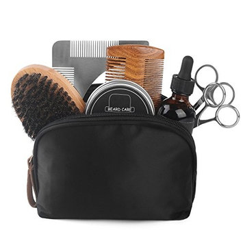 Beard Care Kit, 8-in-1 Beard Grooming Kit for men incl. 2 fl.oz Beard Oil, 2.12oz Beard Wax, Wooden Beard Comb, Boar Beard Brush, Beard Scissor, Nose Hair Scissor, Beard Shaping Tool, Storage Bag