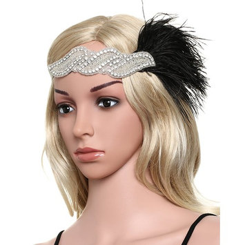 BABEYOND 1920s Flapper Headband 20s Great Gatsby Headpiece Black Feather Headband 1920s Flapper Gatsby Hair Accessories with Crystal Black