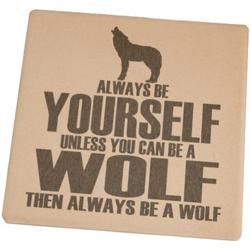 Animal World Always Be Yourself Wolf Square Sandstone Coaster