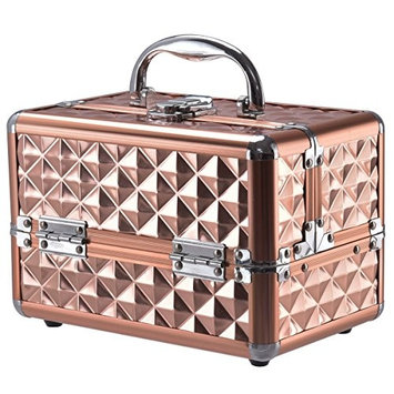 Cosmetic Makeup Beauty Case Organizer W/ Mirror & Extendable Trays Rose Gold Allblessings