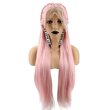 Anogol Hair Cap+Accessory+Women's Pink Braided Lace Front Wig With Baby Hair Long Straight Synthetic Wigs For Brids Wedding Hairstyles