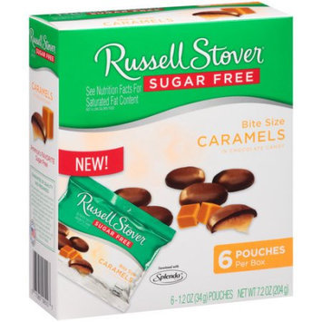 Russell Stover Sugar Free Bit Size Caramels in Chocolate Candy (Pack of 4)