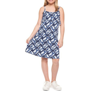 Girl's Flower Foldover Ruffle Dress