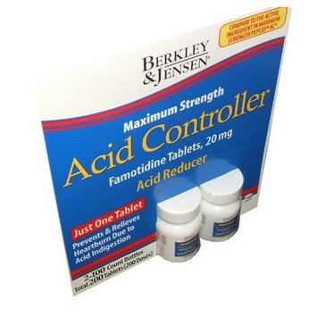 Berkley and Jensen Acid Controller Maximum Strength Famotidine Tablets 20 mg Acid Reducer 100 Tablets Per Bottle (Pack of 2)