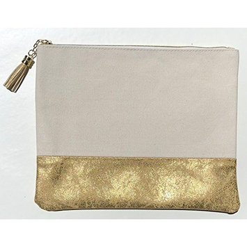 Eccolo Canvas Pouch with Vegan Leather Accent 9.8 x 8 inch