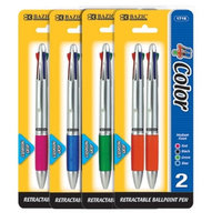Bazic Silver Top 4-Color Pen with Cushion Grip Quantity: Case of 144
