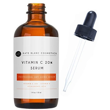 Vitamin C Serum for Face 20% with Hyaluronic Acid & Vitamin E by Kate Blanc. Anti-aging Facial Oil to Reduce Appearance of Fine Lines, Wrinkles, Dark Spots, Scars, Acne. Tighter, Toned Skin.
