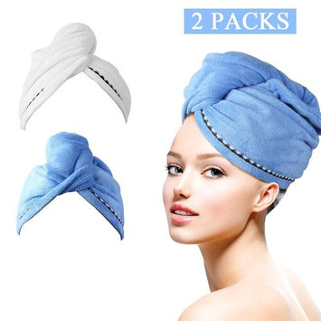 Eastshining Microfiber 2 Pack,Quick Dry Hair Towel Wrap Turban with Buttons, Super Absorbent Wrapped Bath Cap Hat for Bath Shower Makeup,24.41 Inch x 9.45 Inch,Easy to Carry (Blue&White)