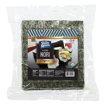 SUSHI MAVEN Nori Sheets- Pack of 50 Seaweed Sheets- Organic Nori Sheets for Asian Dishes- Premium High-end Nori Sheets for Sushi and Rice Balls- Healthy Organic Asian Food