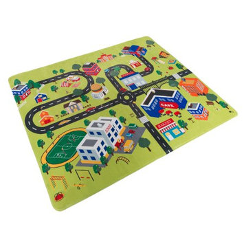 Trademark Global Llc Baby Play Mat for Kids, Microfiber Flannel Fleece & Foam Mat with Non Slip Back and City Scene for Toddlers, Boys and Girls by Hey! Play!