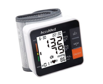 AccuMed ABP801 Portable Wrist Blood Pressure Monitor with One-Touch Intelligent Automatic Measuremen