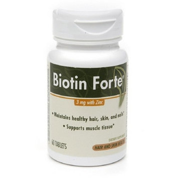 PhytoPharmica Biotin Forte, 3mg with Zinc, Tablets, 60 ea