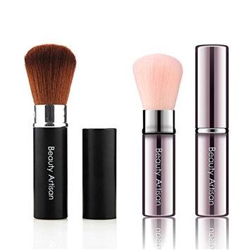 Beauty Artisan Kabuki Makeup Blush and Powder Brush Mineral Powder Foundation Blending Brush Works with Creams, Powders and Minerals Retractable With Lid Black, Pink Mutifunction