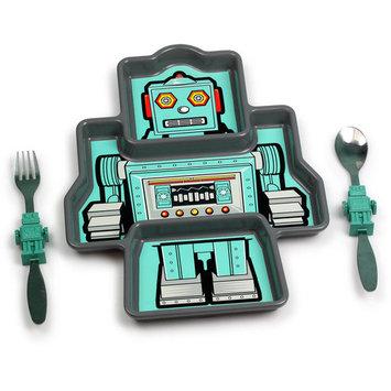 KidsFunwares Me Time Polypropylene Plate and Utensil Set, Robot, BPA Free