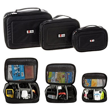 BUBM Accessories Storage Carry Bag Multiple Function Case USB Cable Memory Card Power Cord Battery Storage Bag Case Triple Set (Large, Medium and Small) High Quality Bag