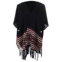 S/M Fit Black Desert Inspired Print Fringe Hem Poncho Style Cardigan