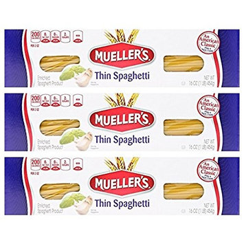 Mueller's Thin Spaghetti Pasta, 16 oz (Pack of 3)