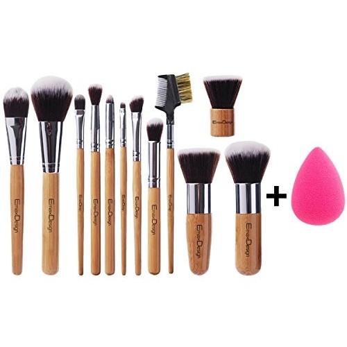 EmaxDesign 12+1 Pieces Makeup Brush Set, 12 Pieces Professional Bamboo Handle Foundation Blending Blush Eye Face Liquid Powder Cream Cosmetics Brushes & 1 Piece Rose Red Beauty Sponge Blender