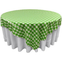 LA Linen TCcheck90x90-LimeK84 Polyester Gingham Checkered Square Tablecloth White & Lime - 90 x 90 in.